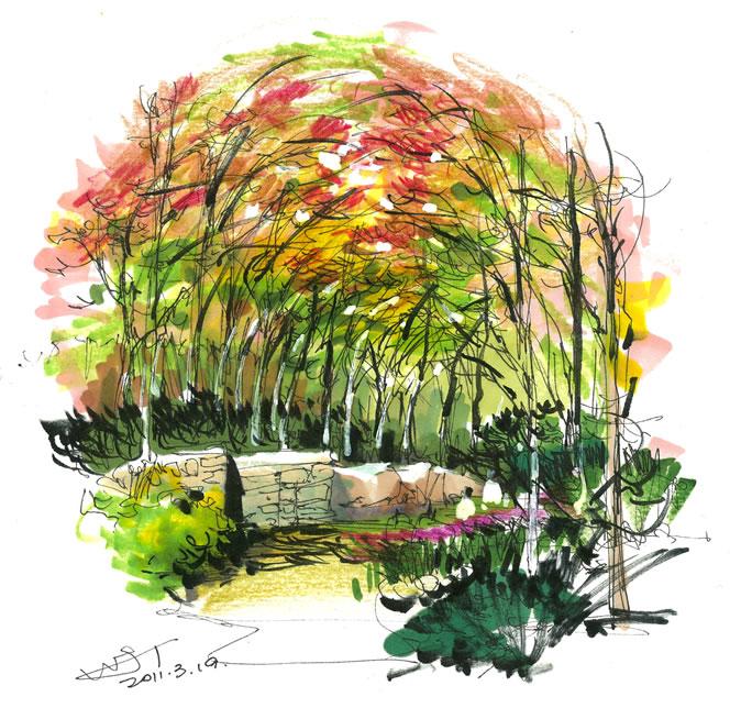 马克笔画风景手绘教程