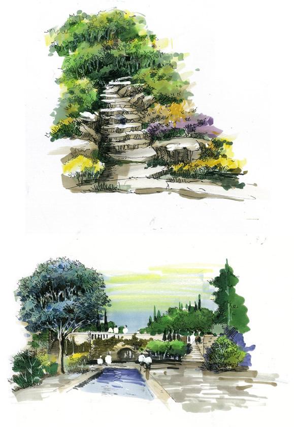 风景园林马克笔手绘