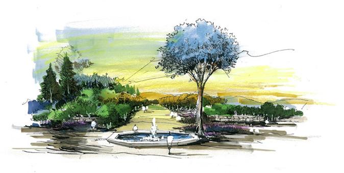 彩铅手绘园林风景