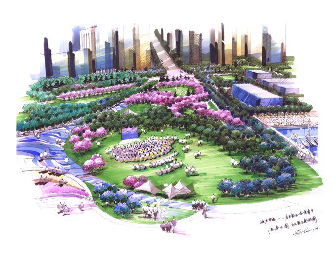 风景园林桃树手绘