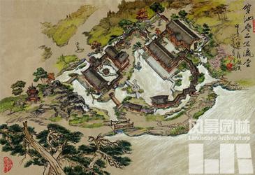明清古建筑鸟瞰图手绘