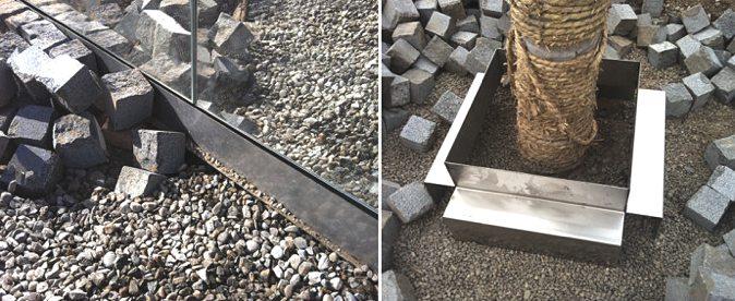 预制不锈钢排水槽和树池的安装