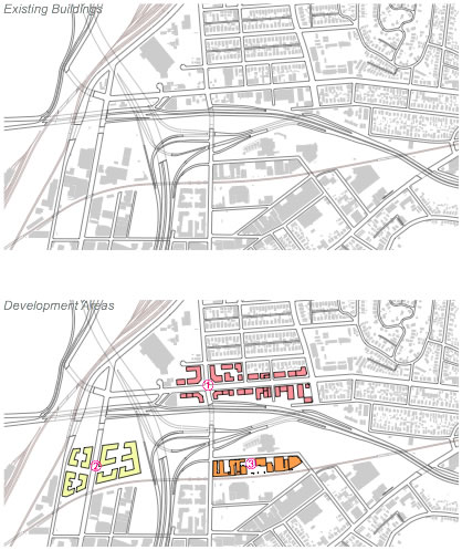 Figure 3-3-1 Existing Buildings & Development Areas | 现状建筑与发展地块