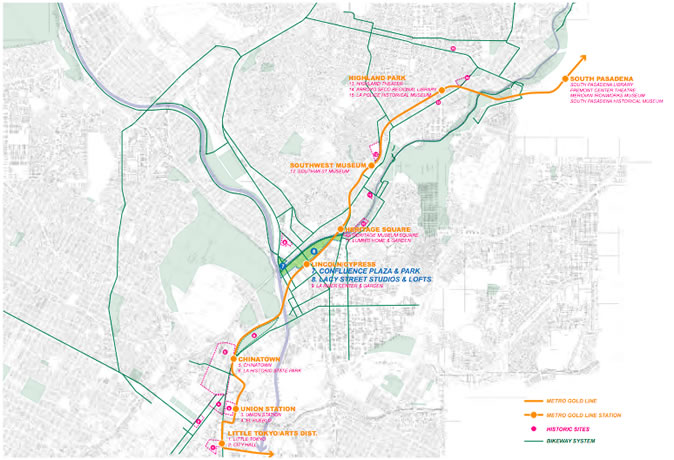 Figure 3-3-3 Metro Gold Line & Bikeway System & Historic Sites | 轻轨线路、自行车道路系统与历史遗址