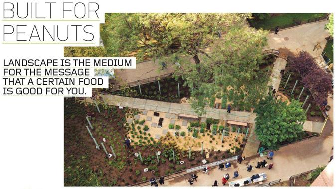 一系列带铁艺装饰的蓝色木桩阵列,勾勒出一个100英尺长的花生形状,其内部是药草园。