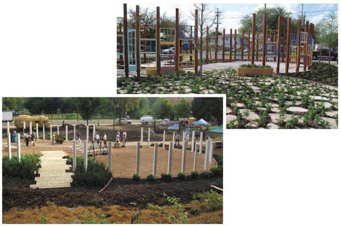 """KSLA回收了在飓风卡特里娜中损坏建筑的窗框,为新奥尔良的种植园勾勒出花生形状。在华盛顿,肯·史密斯发现了""""一种真正的廊柱文化"""",于是在华盛顿的种植园中,他用廊柱来描绘出花生的轮廓。"""