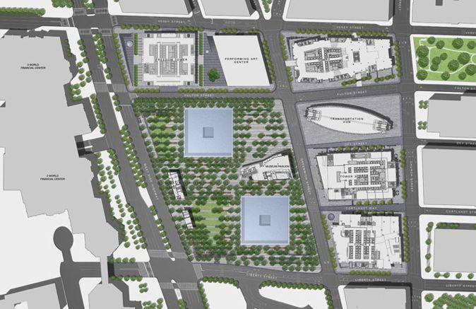 图1,平面图。整个园区是一个巨大的屋顶花园,用树阵的方式整齐种植了将近400多棵美国白橡树,这让人想起了Peter在日本埼玉市设计的Kayaki Hiroba Plaza。从平面上看结构十分简单:建筑(3个)+巨大水景(2个)+树阵。我从左下角进入,右上角的部分还未开放。(Photocredit:PWP Landscape Architecture)