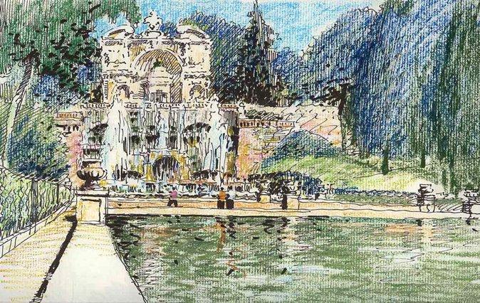 图3,2005年,意大利埃斯特庄园,钢笔、蜡笔