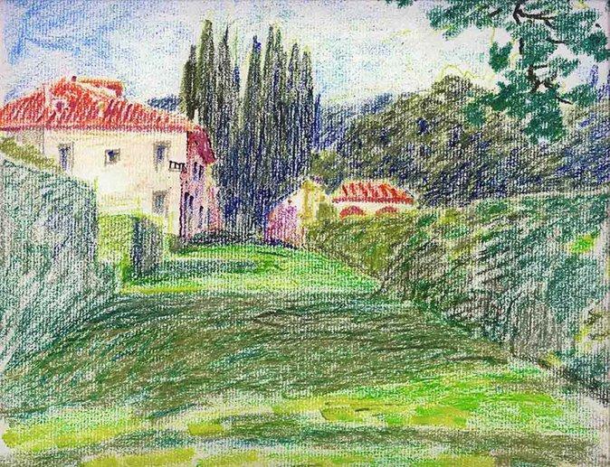 图5,2005年,意大利冈贝利亚庄园,蜡笔