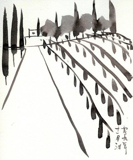 图1,初期概念,毛笔水墨,2010年