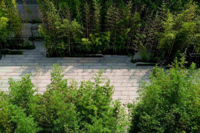 图5 预制混凝土铺装与竹子结合 张海