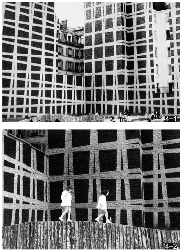 (Francois Morellet) Integration Archetcturales (he said: architectural disintegration) GRIDS 3° -87° -93° -83° (1971) location: at the plateau La Reynie, at the junction Quincampoix and Aubry-le-Boucher Nearby the centre pompidou... The work does not exist any longer.