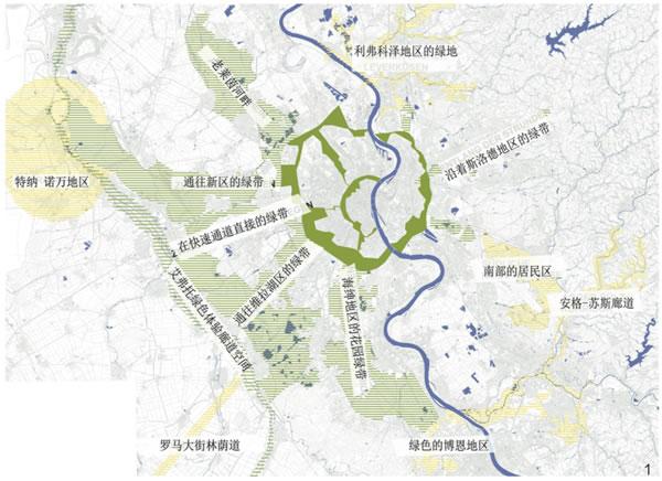 """图1 """"IBA 埃姆舍区域绿地系统""""是从城市外围的5个开放空间廊道发展而来的。在发散的方向上,绿地连接城市周围的林地以及居住地区。这些绿道框定了城市发展空间,从而控制了城市片区的无序蔓延"""