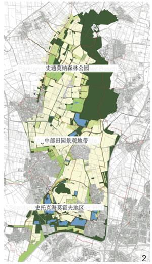 """图2 廊道""""老莱茵河畔""""由3个大景观板块组成:北部的史通莫纳森林公园、中部田野景观和其中的普尔海姆城以及南部史托克海莫地区。这一概念旨在通过景观性的介入来强化场地和景观的特征"""