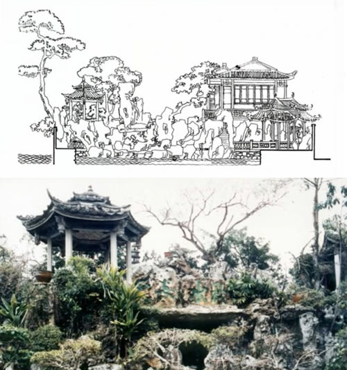 西塘庭园剖面与壁型假山上的凉亭实景图