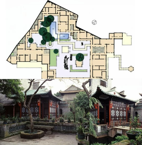 东莞可园平面图,L型水池与亚字厅建筑实景图