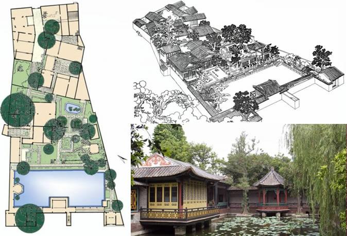 清晖园平面图、鸟瞰图、水庭实景组图