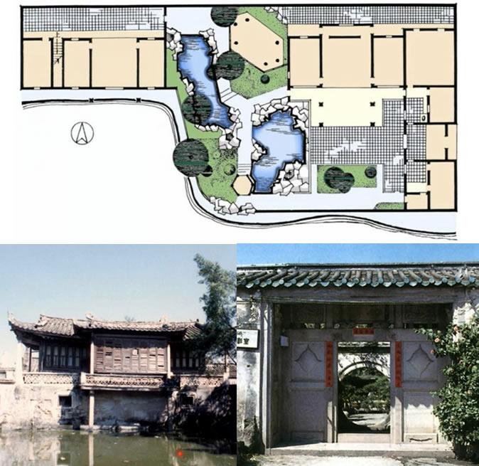 粤东澄海樟林西塘平面图、入口、书斋建筑组图