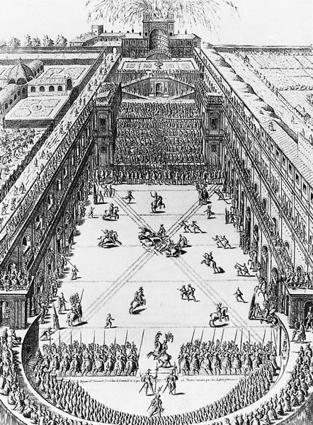 图5 望景楼园,雕版画,Hendrick von Schoel作于1579年