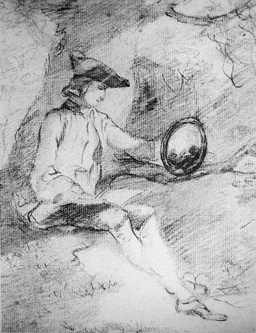 图9 借助克劳德镜欣赏风景的英国游学者,炭笔画,Thomas Gainsborough作于1750年