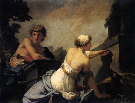 图11绘画的起源,Baron Jean-Baptiste Regnault作于1785年