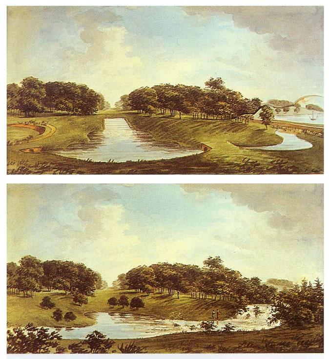 图14 Humphry Repton于《红书》中所示在Thoresby造园前后的场景变化