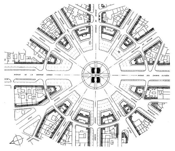 图15 雄狮凯旋门及星形广场平面图