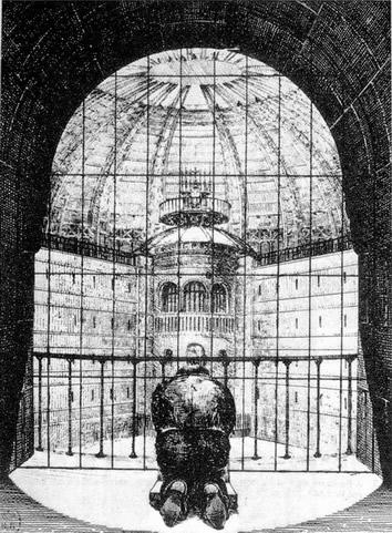 图18一位囚犯正跪着面向中心瞭望塔祈祷,N. Harou-Romain作于1840年