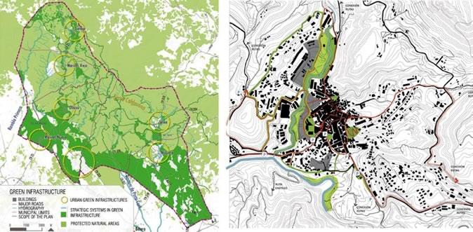 图2 区域尺度与地方尺度的绿色基础设施对比