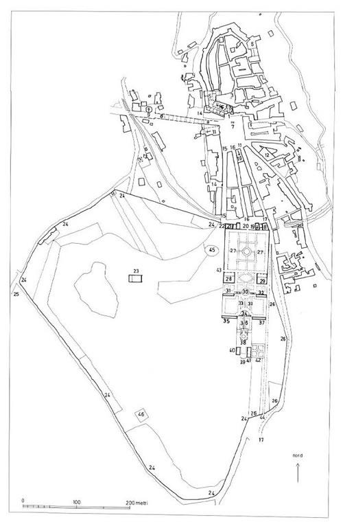 兰特庄园与Bagnaia城平面图 (图片摘自Sabine Frommel著, Flaminia Bardati译,书籍《Villa Lante a Bagnaia》, 意大利语,Electa出版社2005出版发行)