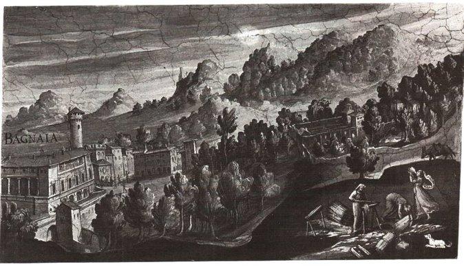 1587年的壁画中可看出兰特庄园建园之时与Bagnaia城的高差关系