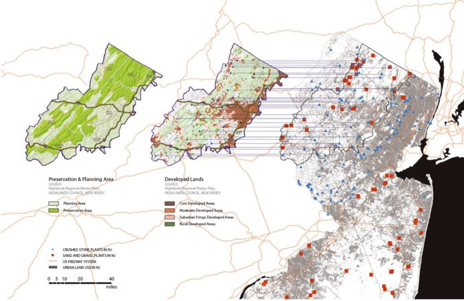 Quarry Futures,GIS信息整合得出结论:新泽西州将采石场所处位置作为未来的核心发展区之一。(作者设计作品)