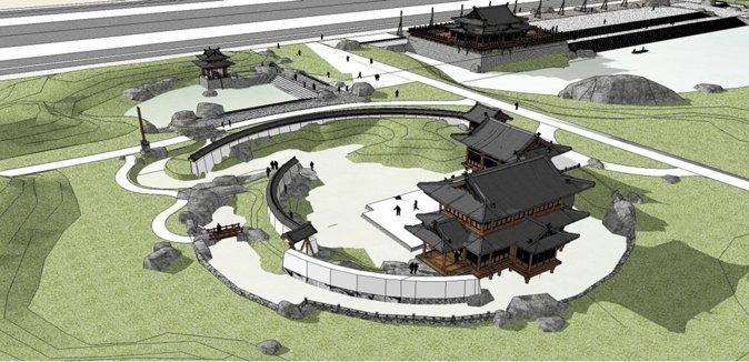 图中展现了设计中的建模部分,其中包括山、水、滩涂等景观之间的关系。