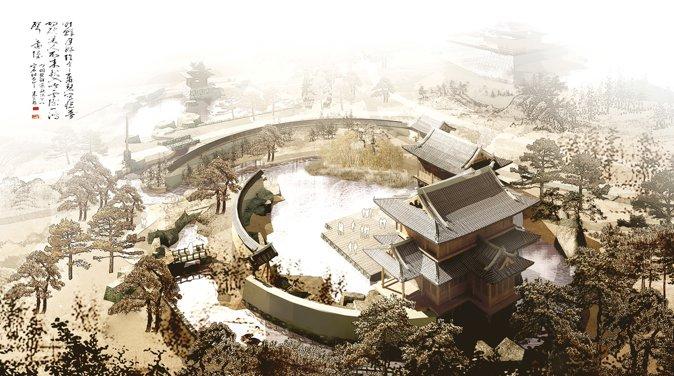 """""""河南开封汴西新区中心区园林""""项目秾芳诗社部分的最终完成图"""