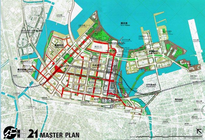 横滨国际博览会会场平面图:绿色部分作为公园保留了下来。