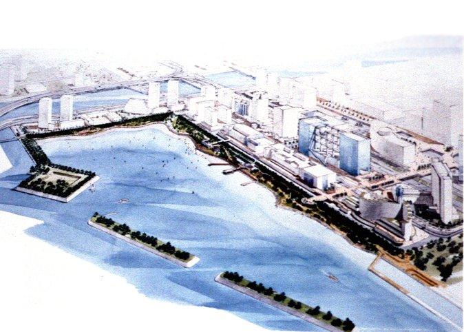 台场海滨公园鸟瞰图(在填筑地区域里新的现代化大厦正在建设当中。)