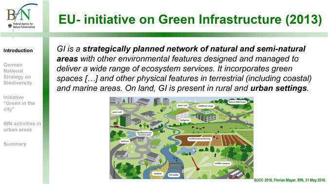 Image2:绿色基础设施的内涵 绿色基础设施是指为了提供更广泛的生态服务而被设计和管理的一个结合了其他环境特征的自然和半自然地区战略规划的网络。它包含了在陆地上和海洋地区的绿地和别的物体特征。就陆地而言,绿色基础设施主要存在于农村和城市区域。