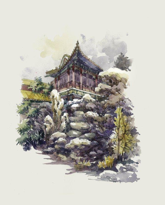 王劲韬教授手绘作品选——故宫系列 | 风景园林新青年