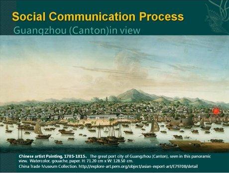 这是关于广州十三行的外交画,画师按照西洋画的画法画了一些广州城市与景观的关系。