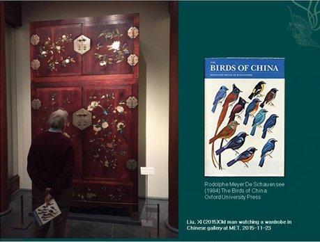 大都会博物馆里的柜子,上面布满了菊花,牡丹,不同的鸟类等各种元素。