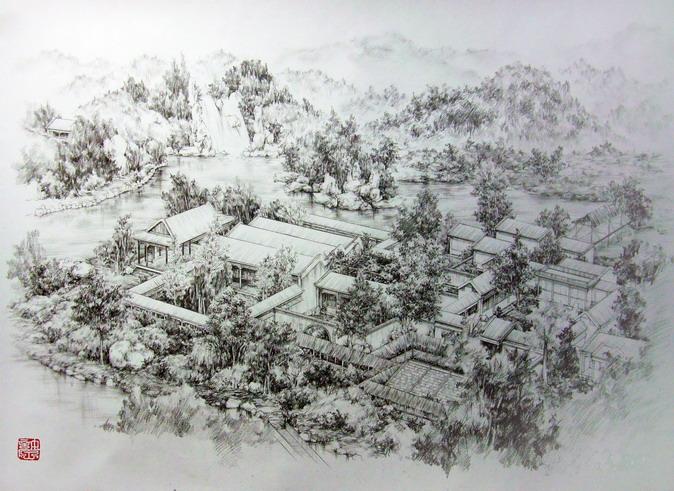 手绘画铅笔 风景_手绘铅笔风景图片_手绘